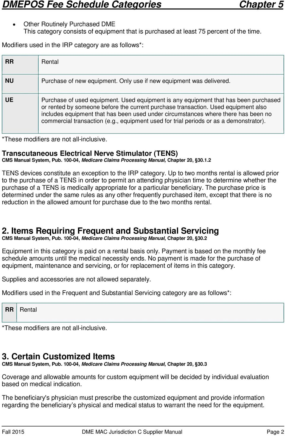 Fall 2015 DME MAC Jurisdiction C Supplier Manual Page 2. Used equipment is  any equipment that has been purchased or rented by someone before the  current