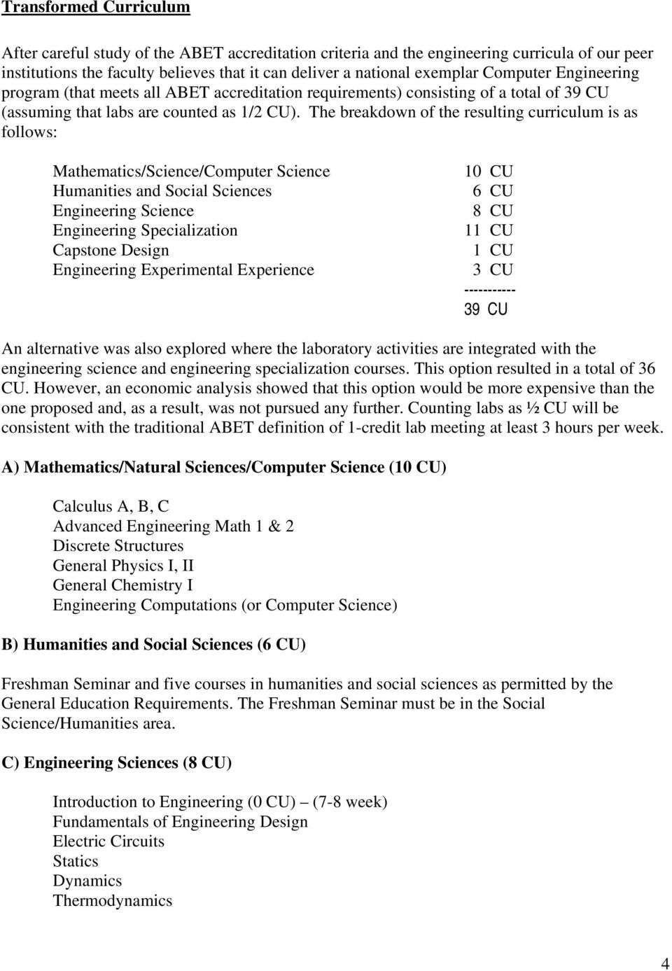 The breakdown of the resulting curriculum is as follows: Mathematics/Science/Computer Science Humanities and Social Sciences Engineering Science Engineering Specialization Capstone Design Engineering