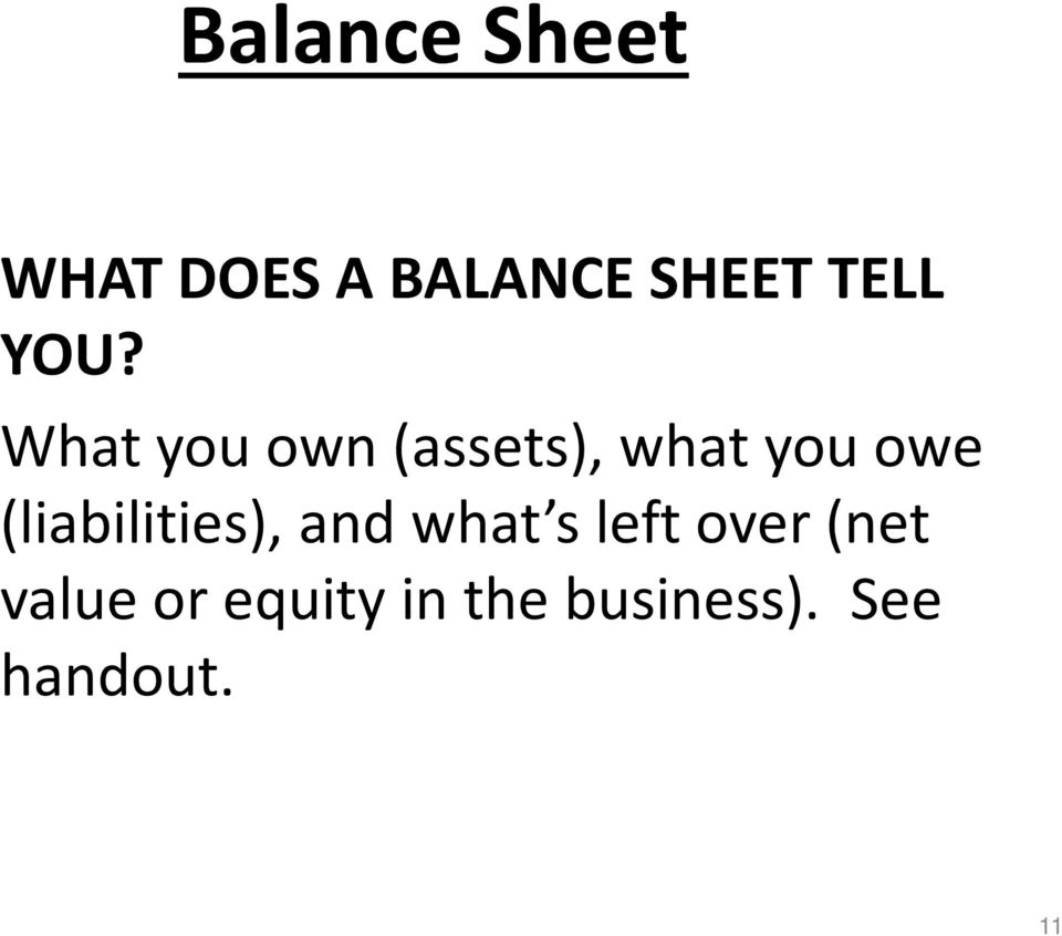 What you own (assets), what you owe