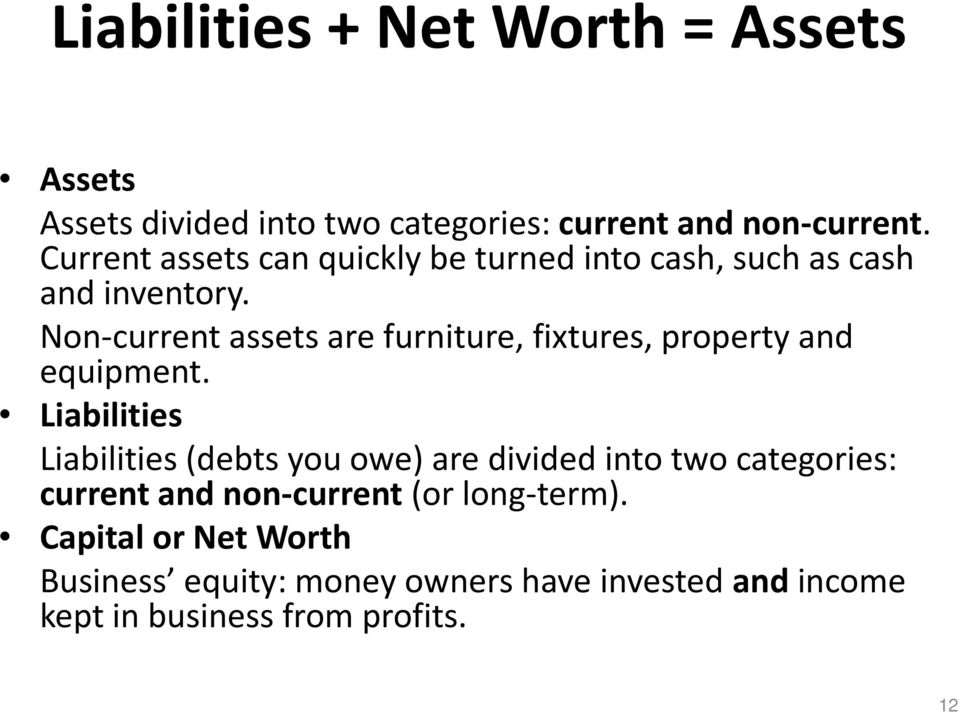 Non-current assets are furniture, fixtures, property and equipment.