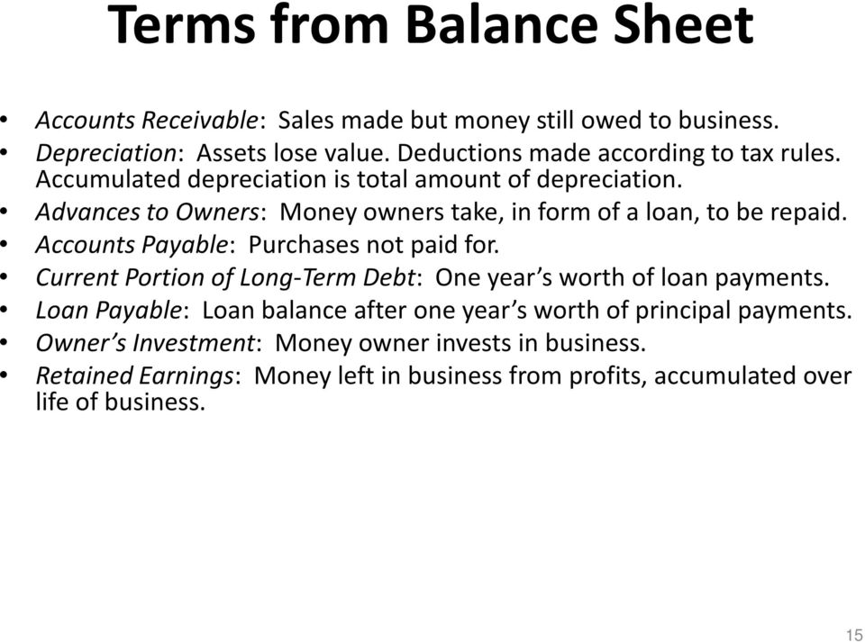 Advances to Owners: Money owners take, in form of a loan, to be repaid. Accounts Payable: Purchases not paid for.