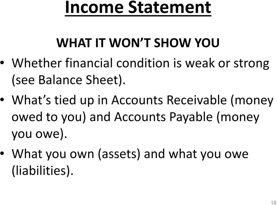 What s tied up in Accounts Receivable (money owed to you) and