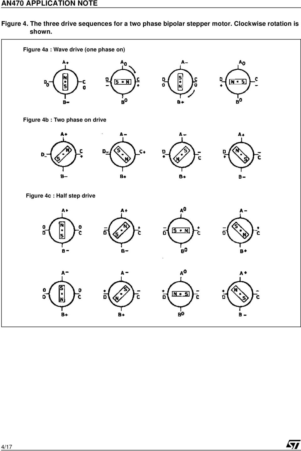 An470 Application Note Pdf Circuit For A Stepper Motor With Two Phase Bipolar Or Unipolar Four Clockwise Rotation Is Shown