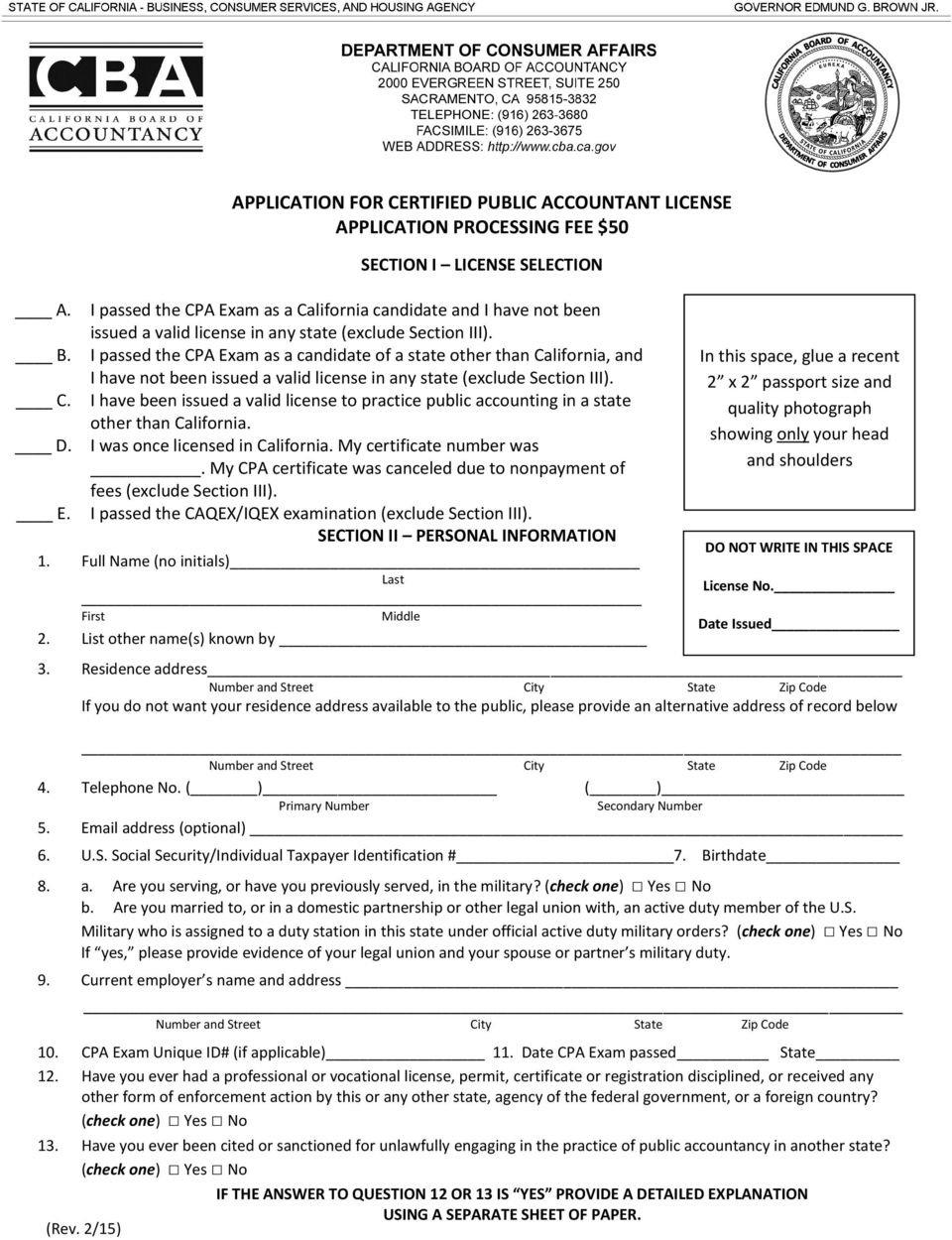 Application for Certified Public Accountant License Form 11A