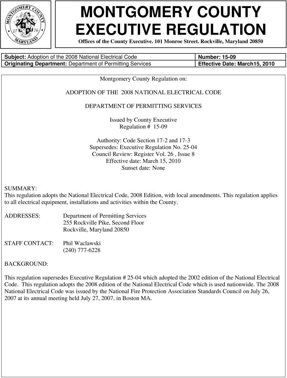 Montgomery County Executive Regulation Offices Of The Rockville Wiring Diagrams 26 Issue 8 Effective Date March 15 2010 Sunset None Summary