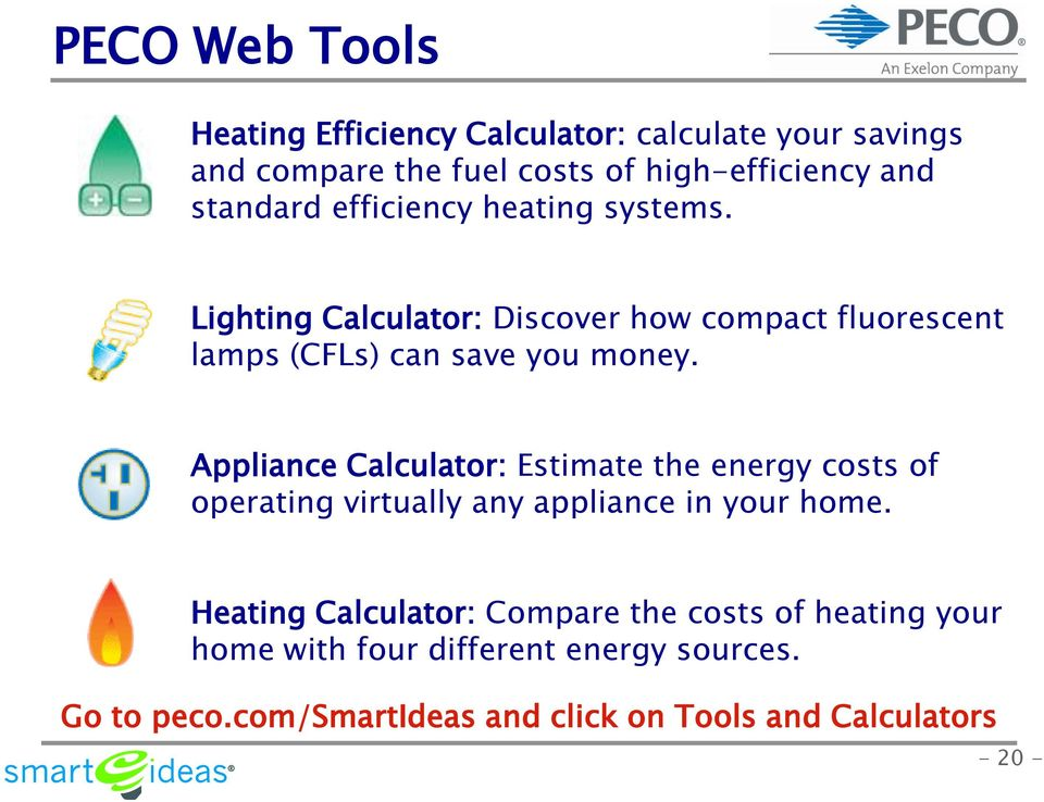 Appliance Calculator: Estimate the energy costs of operating virtually any appliance in your home.