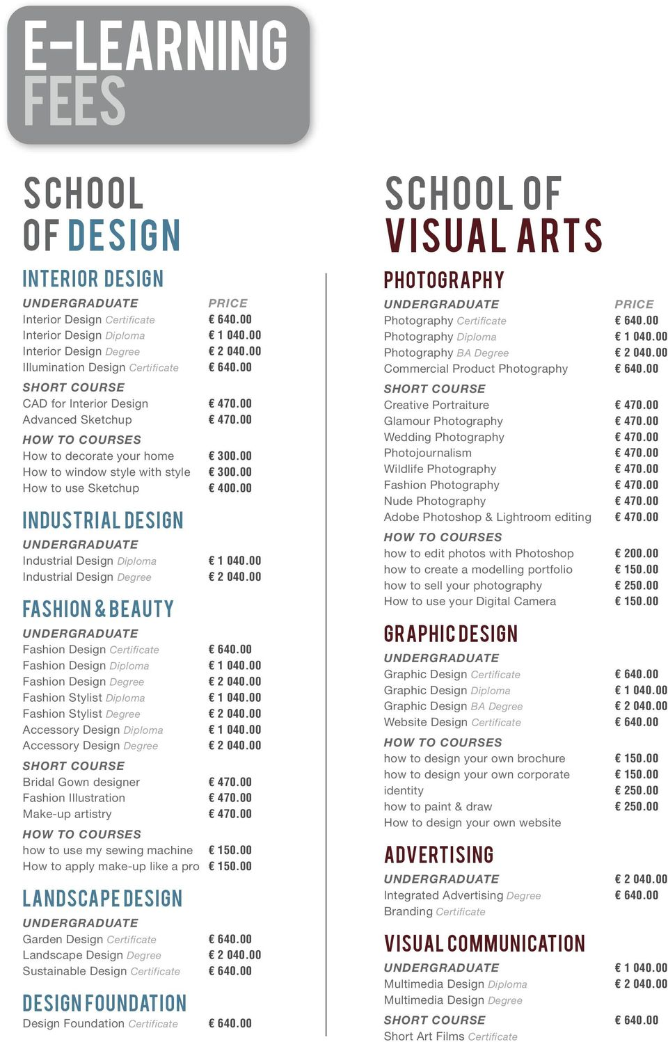 E Learning Fees School Of Visual Arts School Of Design Interior Design Photography Industrial Design Fashion Beauty Graphic Design Advertising Pdf Free Download