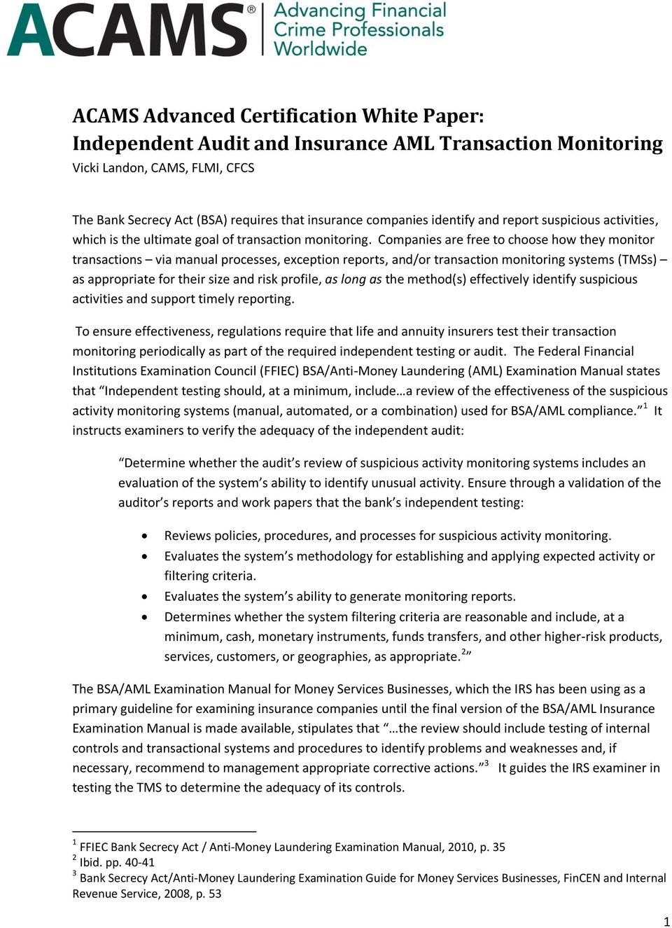 ACAMS Advanced Certification White Paper: Independent Audit