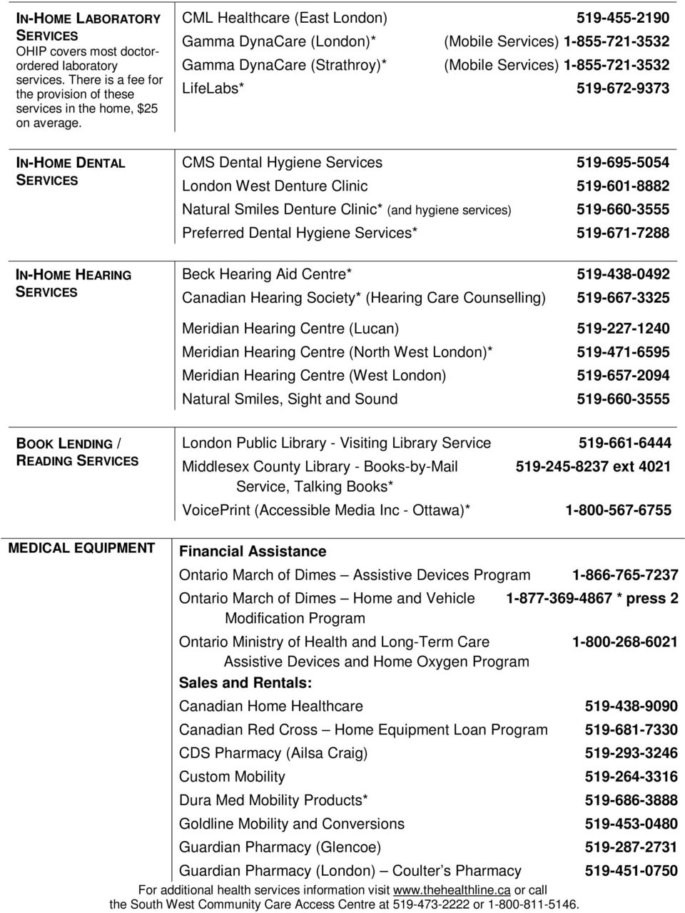 HOME SUPPORT SERVICES For London and Middlesex County - PDF