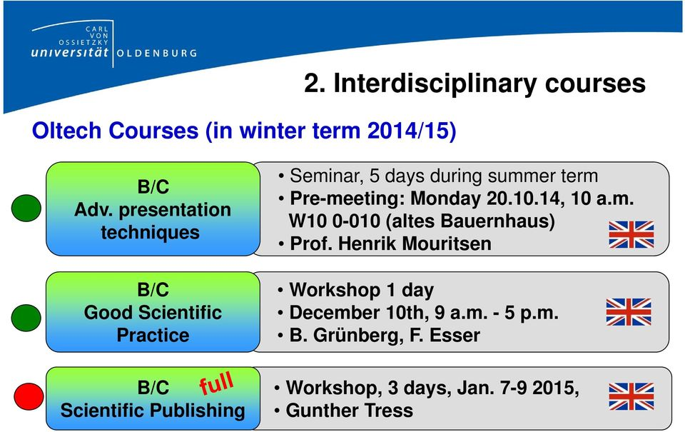 during summer term Pre-meeting: Monday 20.10.14, 10 a.m. W10 0-010 (altes Bauernhaus) Prof.