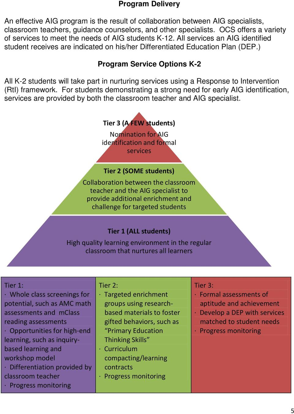 ) Program Service Options K-2 All K-2 students will take part in nurturing services using a Response to Intervention (RtI) framework.