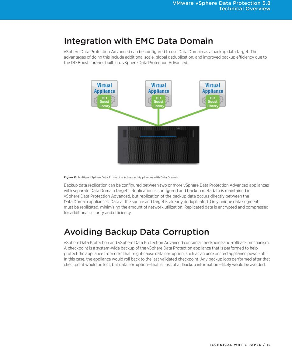 Multiple vsphere Data Protection Advanced Appliances with Data Domain Backup data replication can be configured between two or more vsphere Data Protection Advanced appliances with separate Data