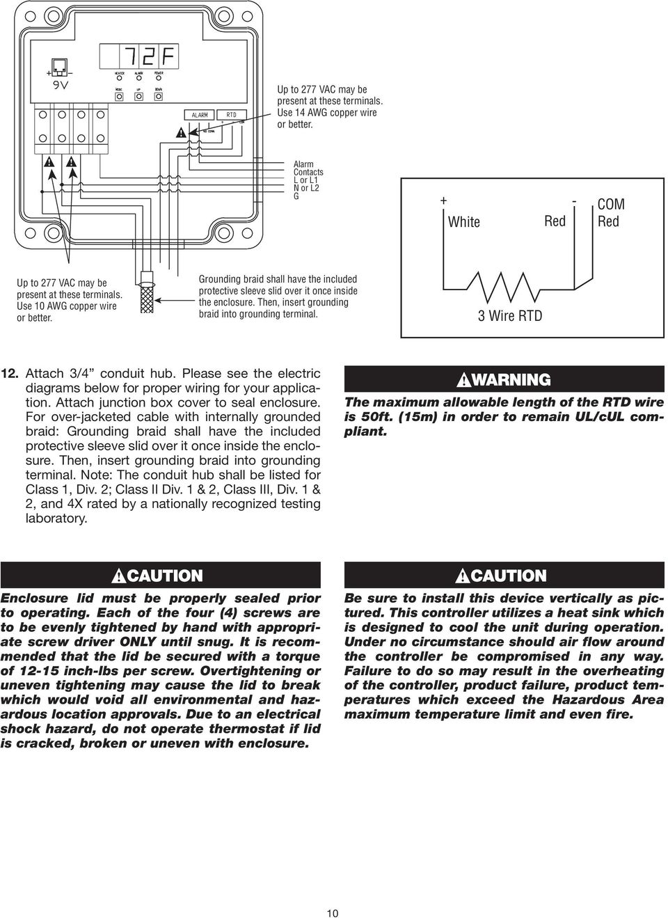 Installation Instructions Dts Haz Dc For Use With Self 3 Wire Rtd Wiring Diagram Attach 4 Conduit Hub Please See The Electric Diagrams Below Proper