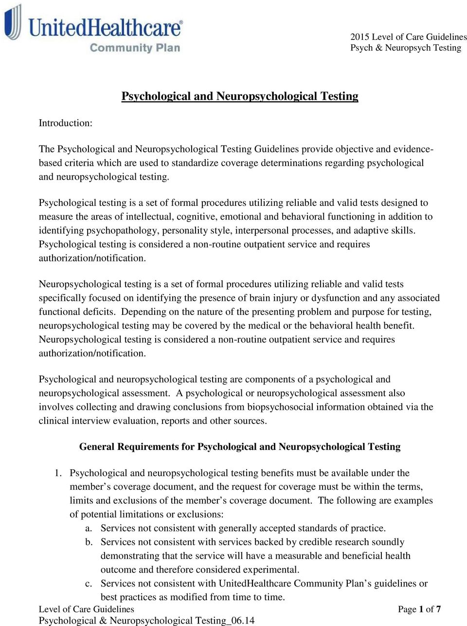 Psychological and Neuropsychological Testing - PDF