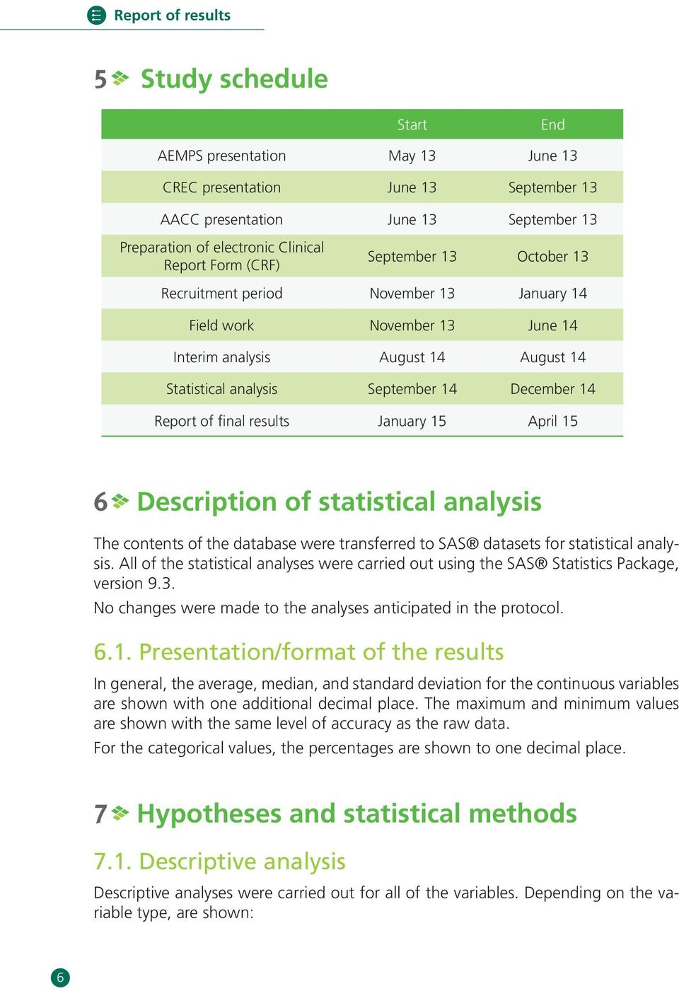 of final results January 15 April 15 6 Description of statistical analysis The contents of the database were transferred to SAS datasets for statistical analysis.