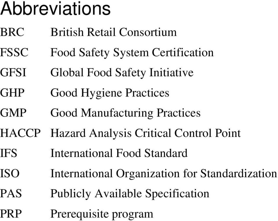 HACCP Hazard Analysis Critical Control Point IFS International Food Standard ISO