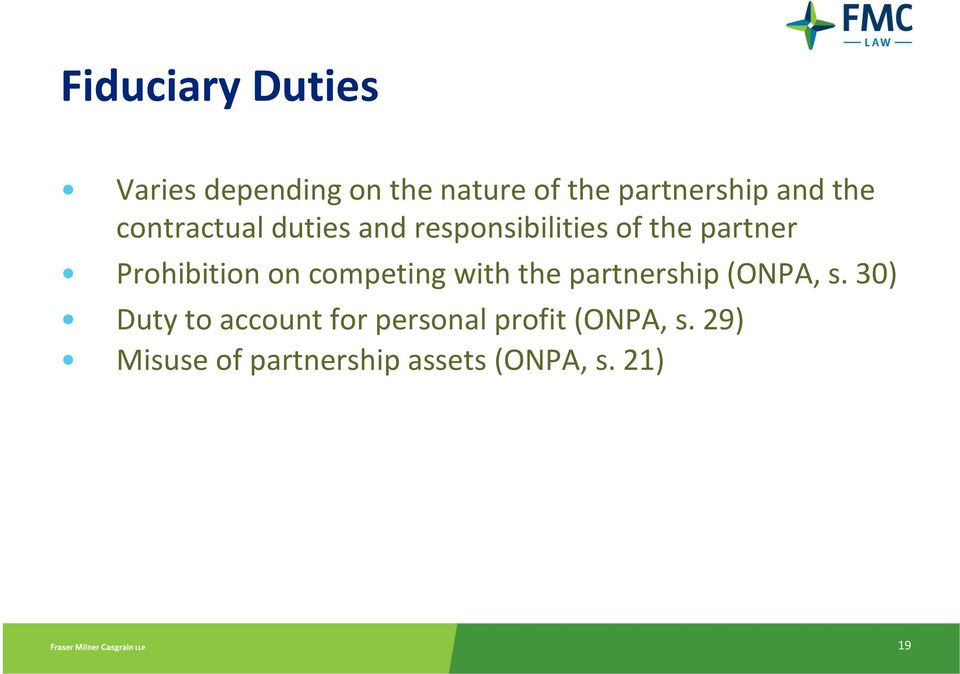 on competing with the partnership (ONPA, s.
