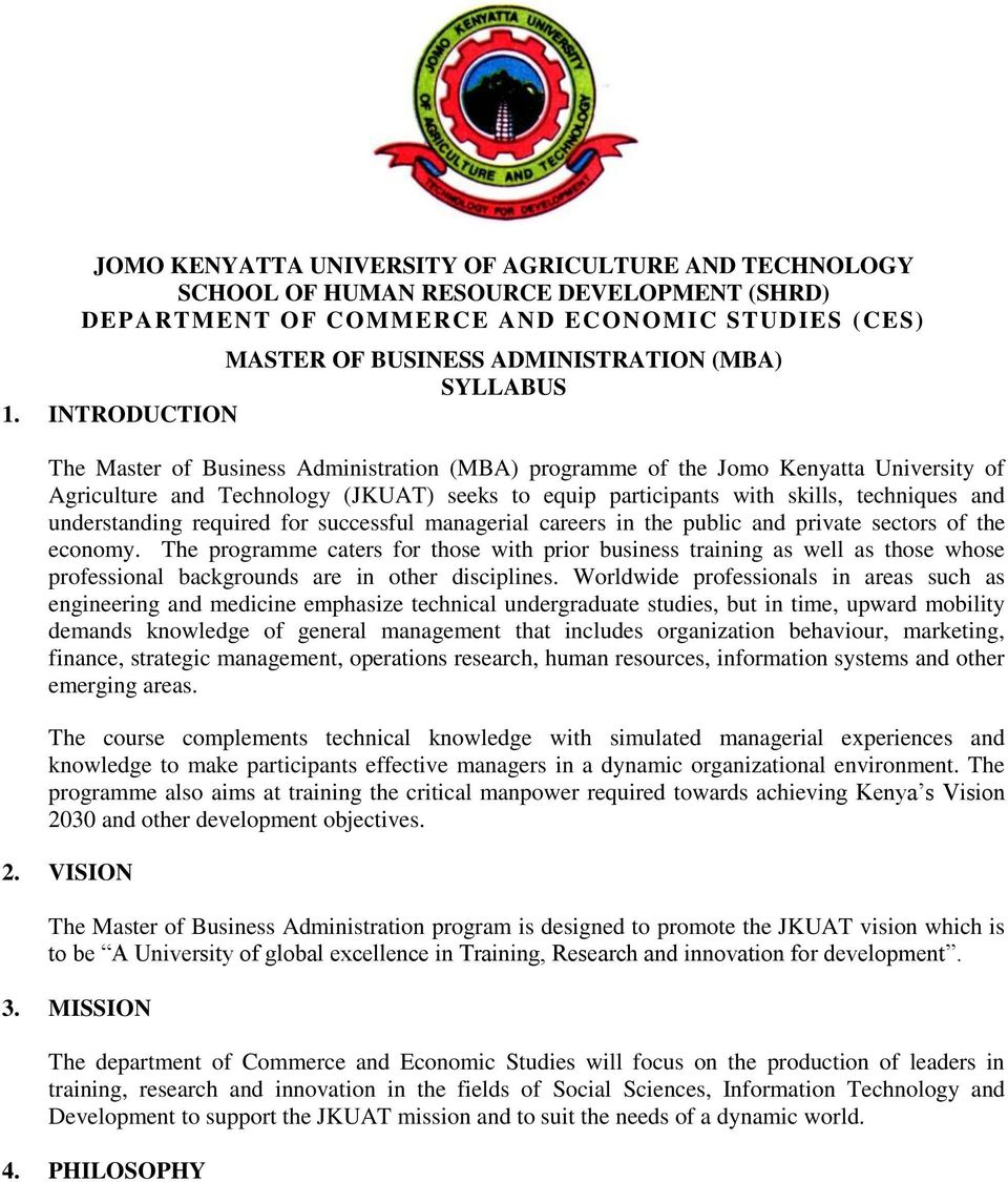 JOMO KENYATTA UNIVERSITY OF AGRICULTURE AND TECHNOLOGY SCHOOL OF