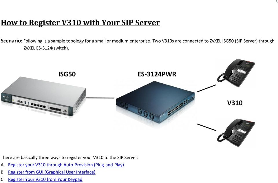 ISG50 ES-3124PWR V310 There are basically three ways to register your V310 to the SIP Server: A.