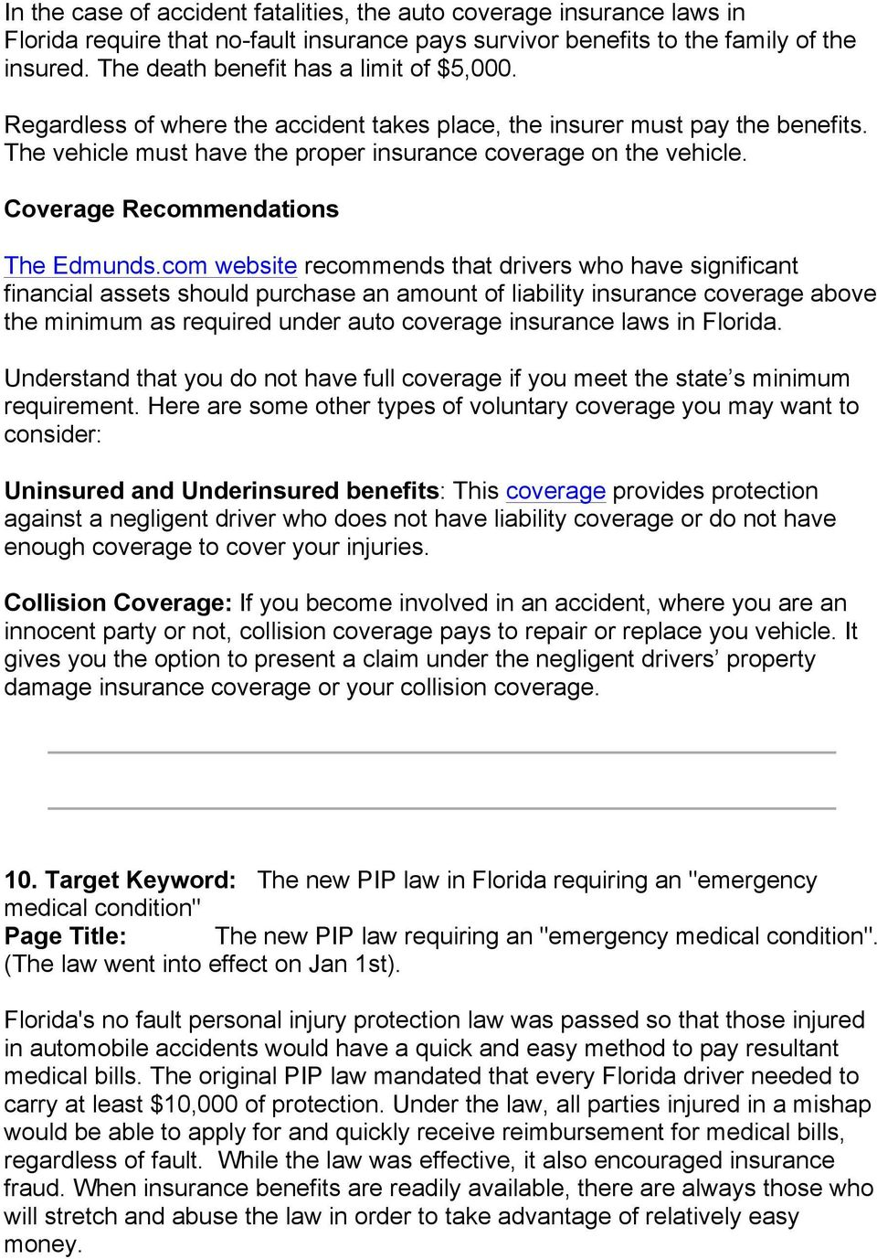 Coverage Recommendations The Edmunds.