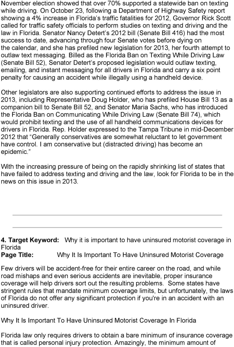 studies on texting and driving and the law in Florida.