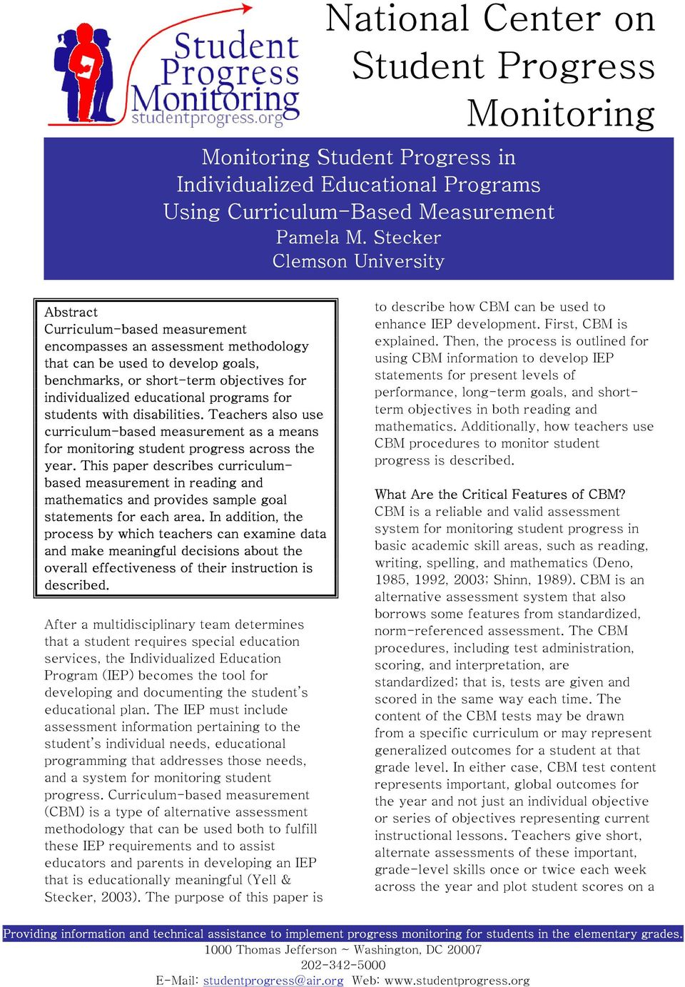 National Center On Student Progress Monitoring Pdf Free Download