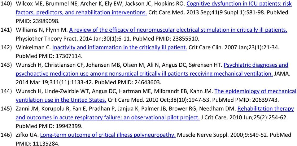 2014 Jan;30(1):6-11. PubMed PMID: 23855510. 142) Winkelman C. Inactivity and inflammation in the critically ill patient. Crit Care Clin. 2007 Jan;23(1):21-34. PubMed PMID: 17307114.