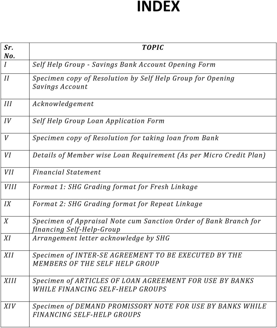 Index topic self help group savings bank account opening form self help group loan application form specimen copy of resolution for taking loan from bank details spiritdancerdesigns Gallery