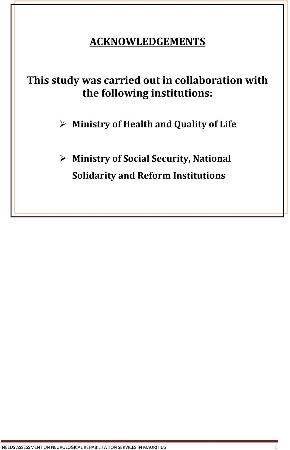 Ministry of Social Security, National Solidarity and Reform