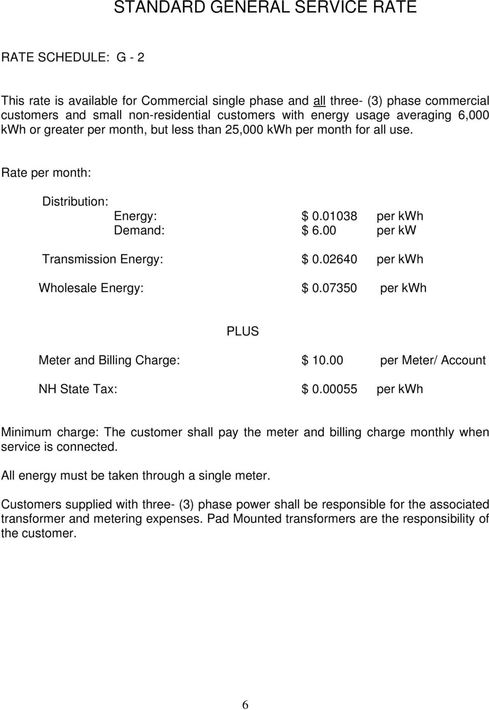 00 per kw Transmission Energy: $ 0.02640 per kwh Wholesale Energy: $ 0.07350 per kwh Meter and Billing Charge: $ 10.