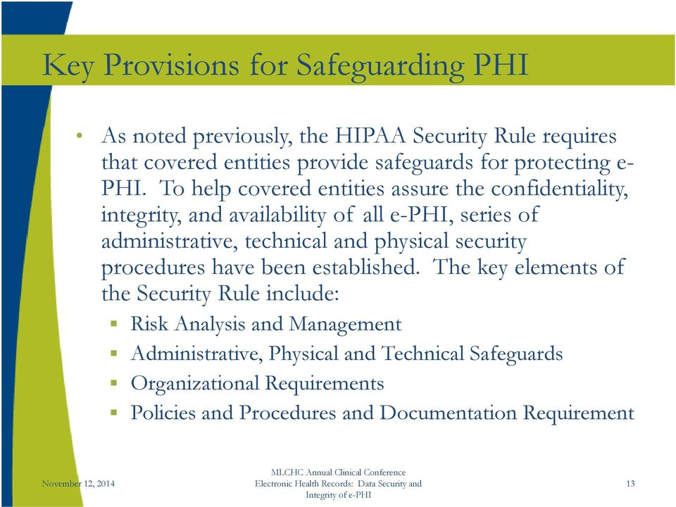 To help covered entities assure the confidentiality, integrity, and availability of all e-phi PHI, series of administrative, technical and