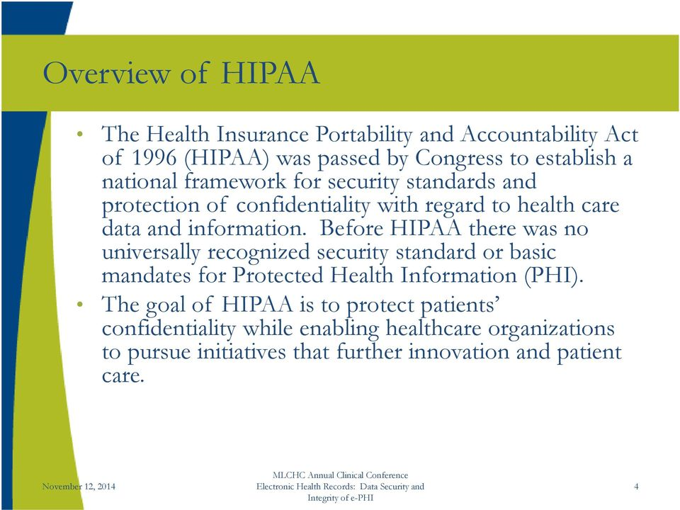 Before HIPAA there was no universally recognized security standard or basic mandates for Protected Health Information (PHI).