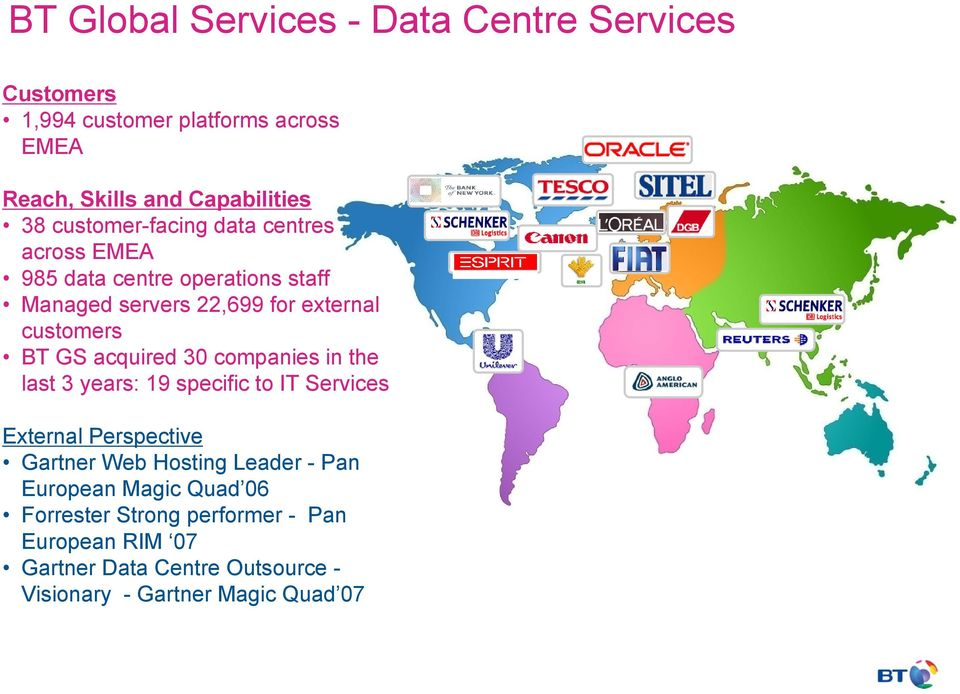 acquired 30 companies in the last 3 years: 19 specific to IT Services External Perspective Gartner Web Hosting Leader - Pan