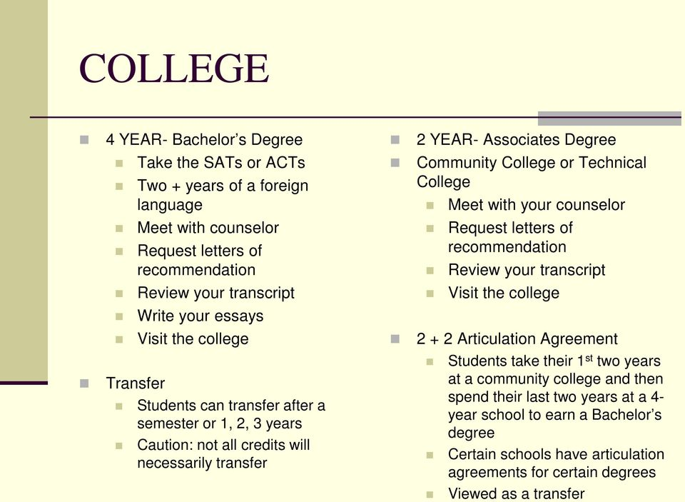 Technical College Meet with your counselor Request letters of recommendation Review your transcript Visit the college 2 + 2 Articulation Agreement Students take their 1 st two years at