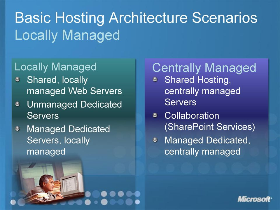 Servers, locally managed Centrally Managed Shared Hosting, centrally managed