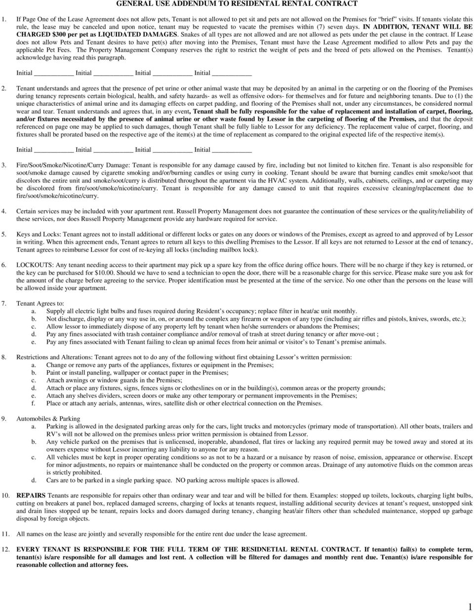 General Use Addendum To Residental Rental Contract Pdf