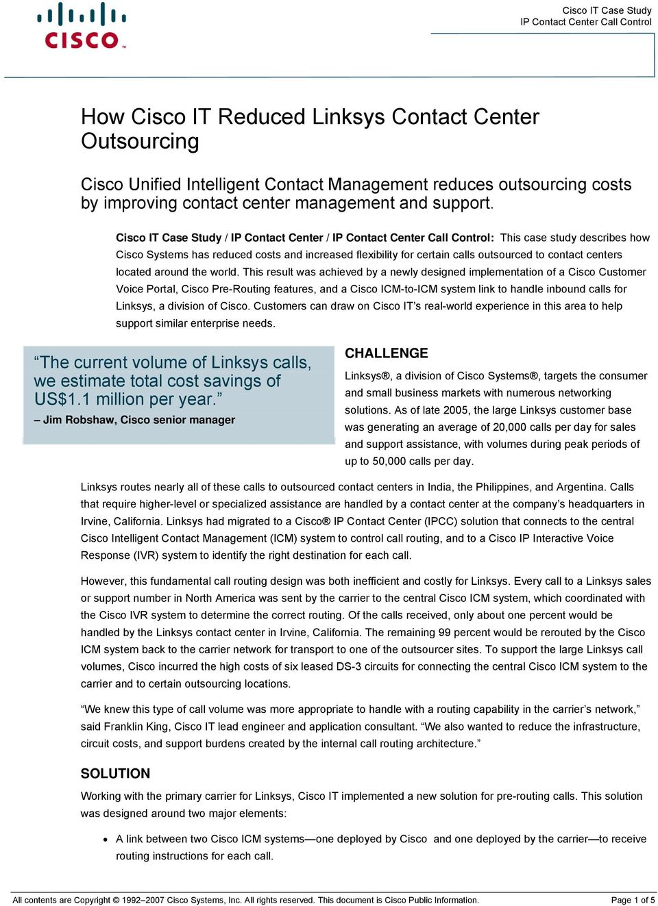 How Cisco IT Reduced Linksys Contact Center Outsourcing - PDF