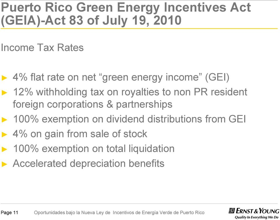 foreign corporations & partnerships 100% exemption on dividend distributions from GEI 4% on