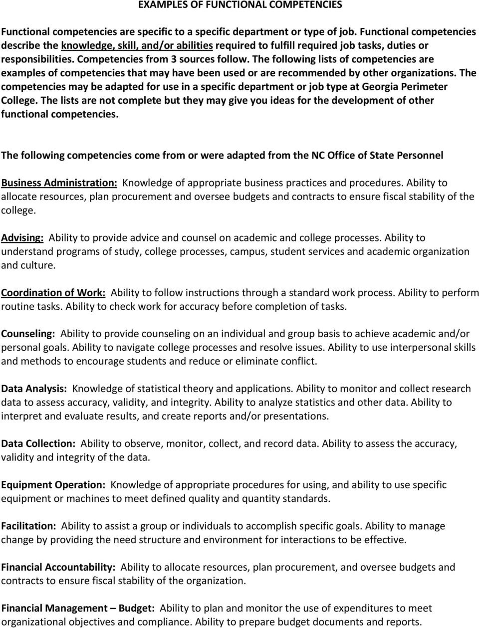 examples of functional competencies pdf