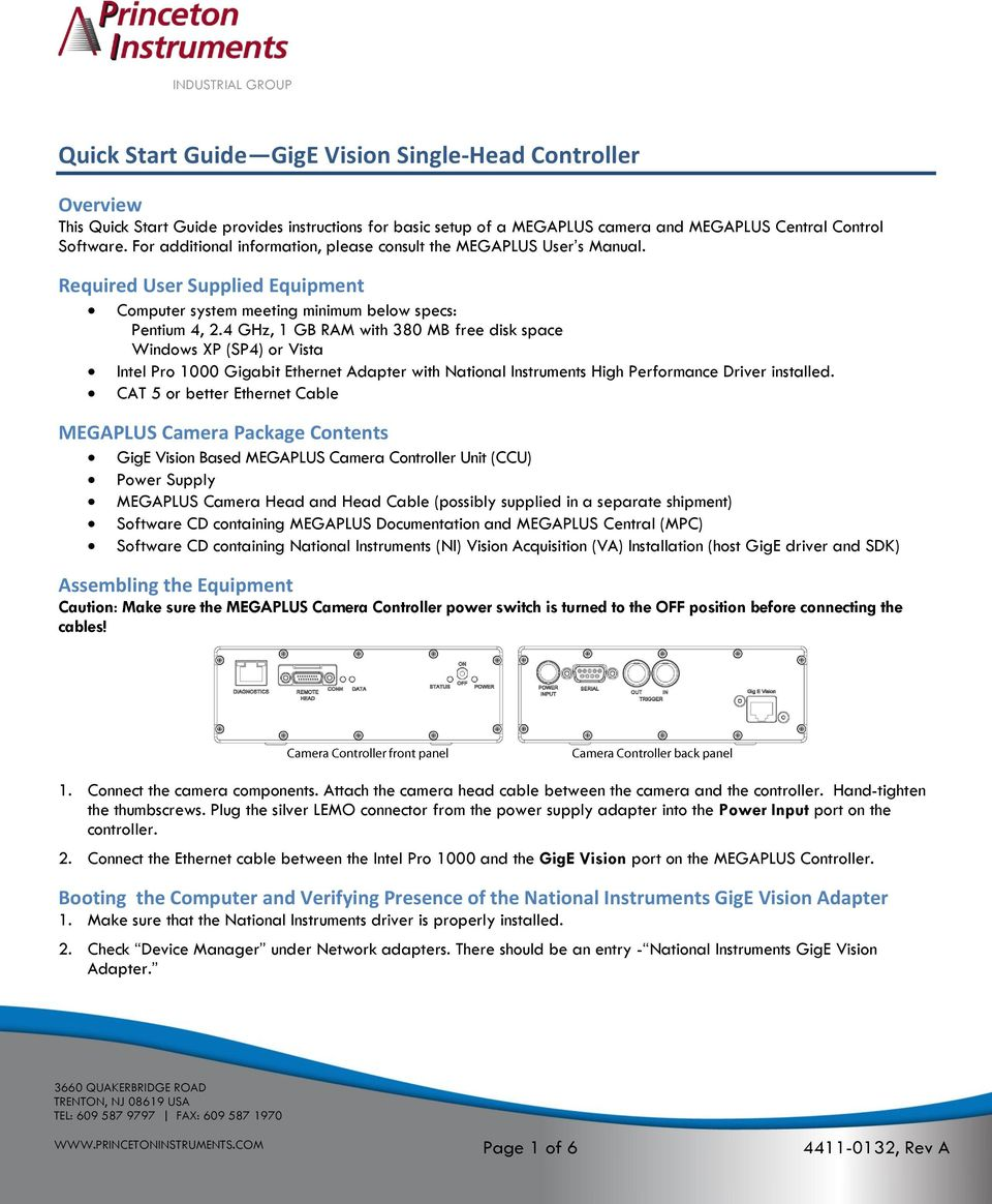 Quick Start Guide GigE Vision Single-Head Controller - PDF