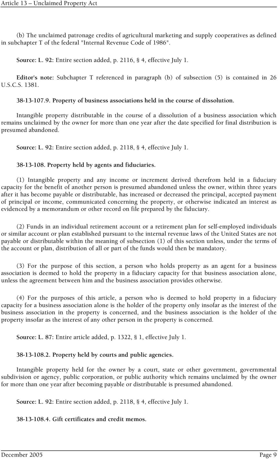 Article 13 Unclaimed Property Act - PDF