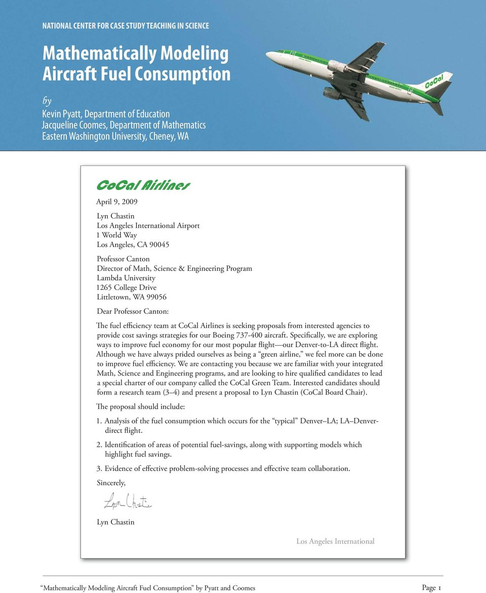 Mathematically Modeling Aircraft Fuel Consumption - PDF