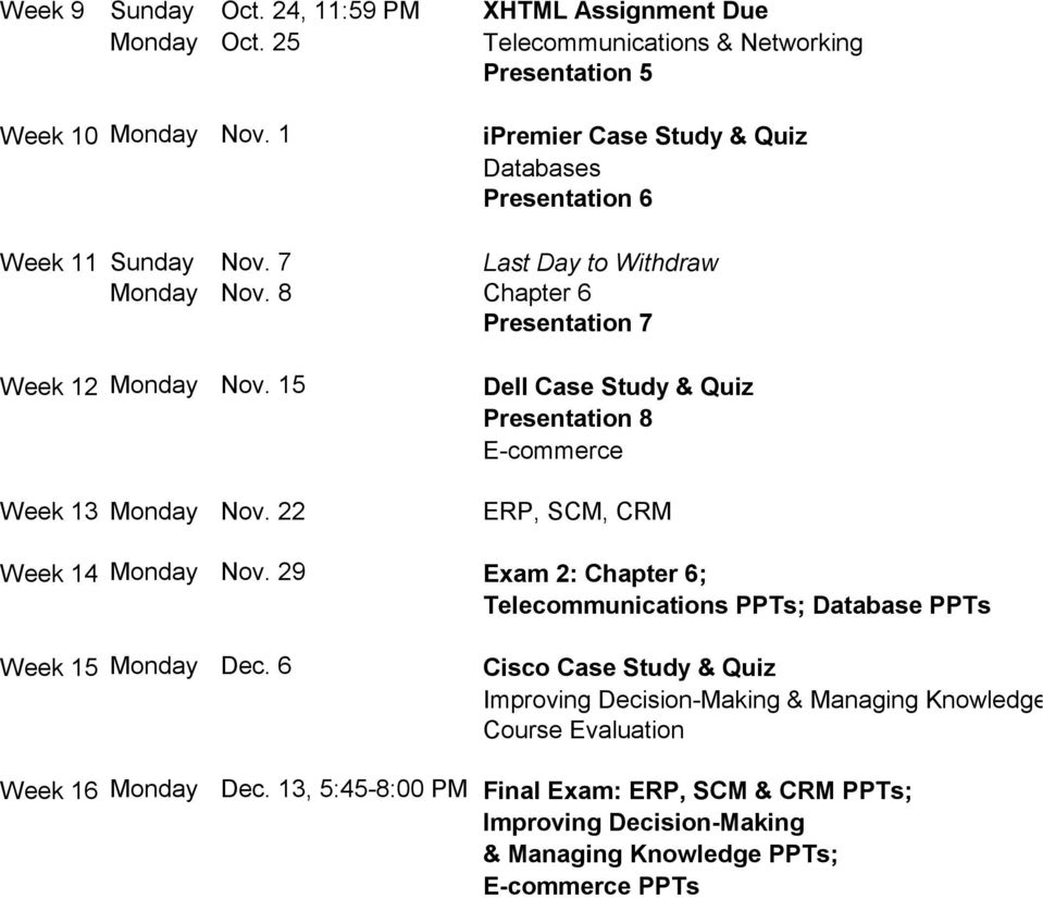 15 Dell Case Study & Quiz Presentation 8 E-commerce Week 13 Monday Nov. 22 ERP, SCM, CRM Week 14 Monday Nov.