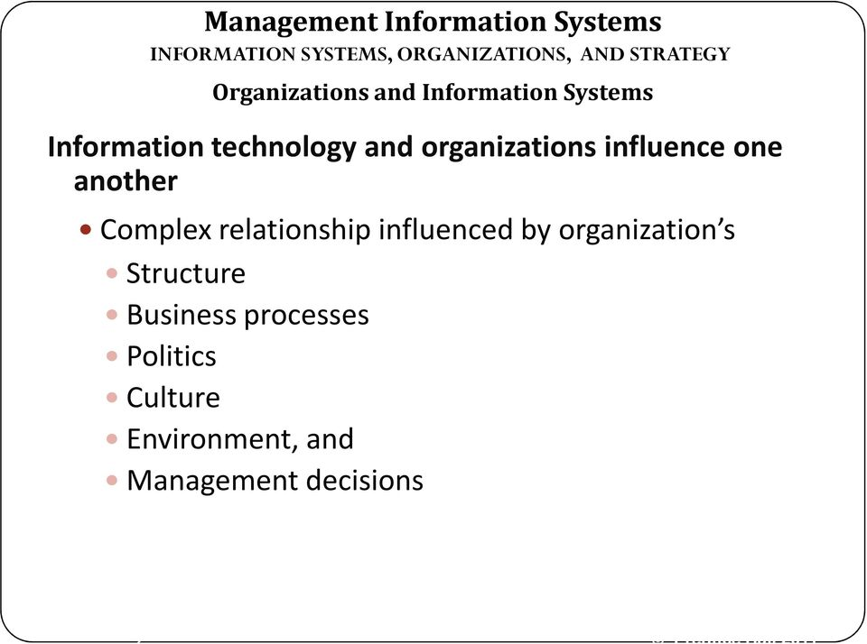 relationship influenced by organization s Structure