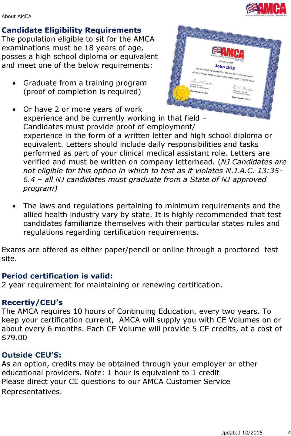 About Amca We Offer National Certification Exams That Support And