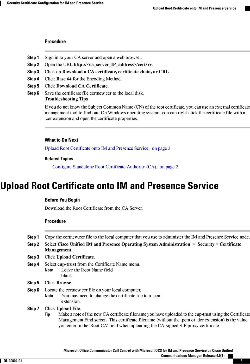 Security Certificate Configuration for IM and Presence