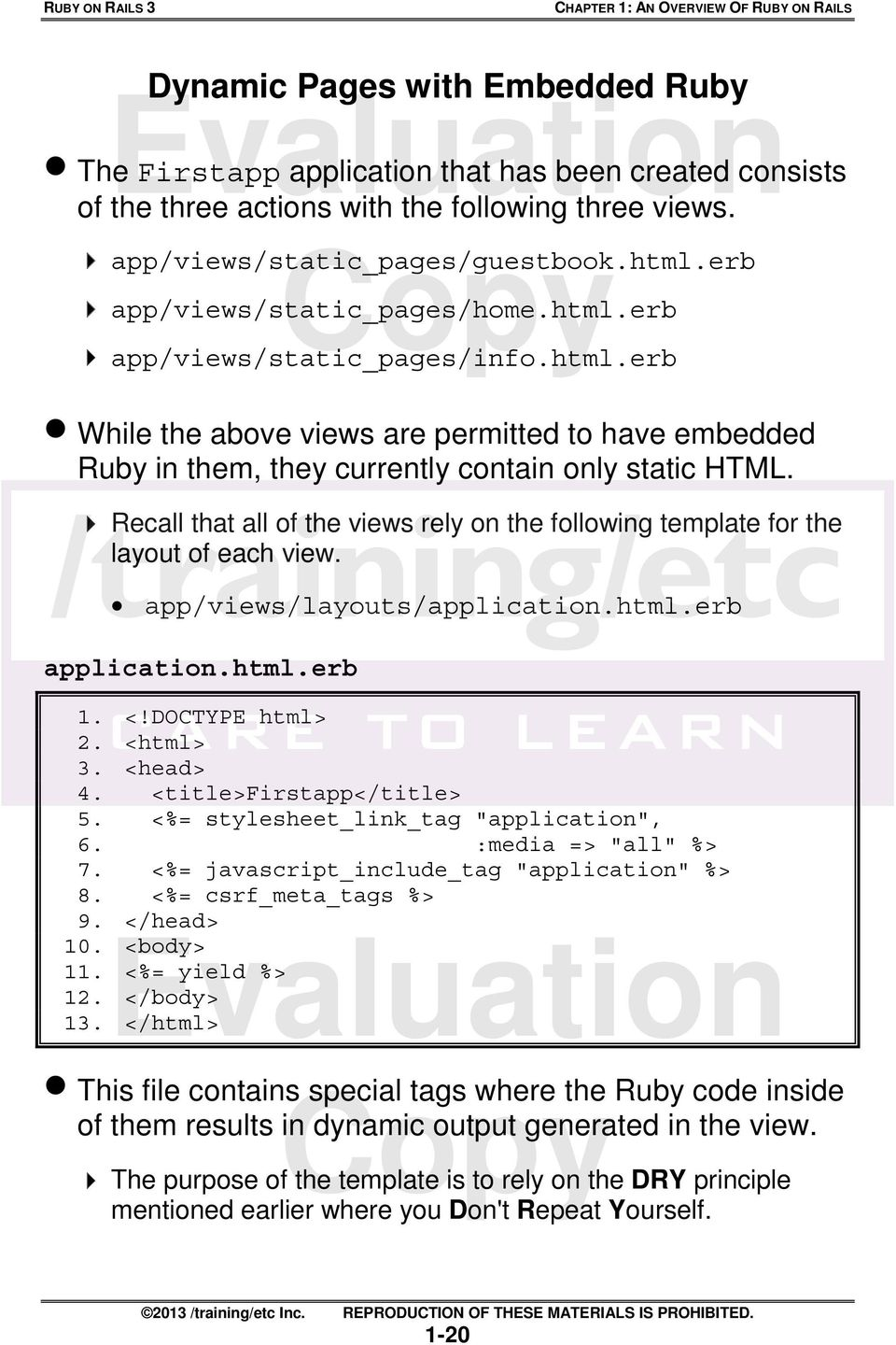 Evaluation  Chapter 1: An Overview Of Ruby Rails  Copy  6
