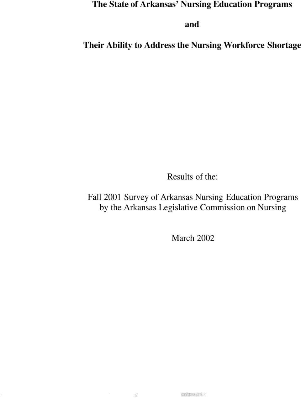 of the: Fall 21 Survey of Arkansas Nursing Education