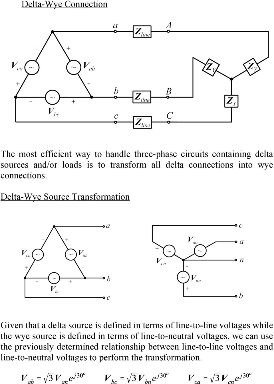 Balanced Three Phase Circuits Pdf Neutrals120 Volts And 240 Oh Mymultiwirediagramjpg Delta Wye Source Transformation Given That A Is Defined In Terms Of Line