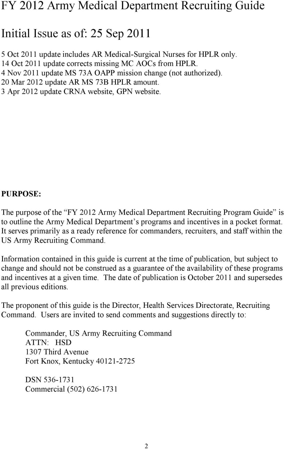 FY 2012 ARMY MEDICAL DEPARTMENT RECRUITING PROGRAM GUIDE - PDF